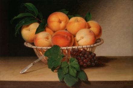 """Still Life Basket of Peaches"" -- Raphaelle Peale, 1816"
