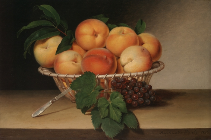 """Still Life Basket of Peaches"" -- Raphaelle Peale, 1816"