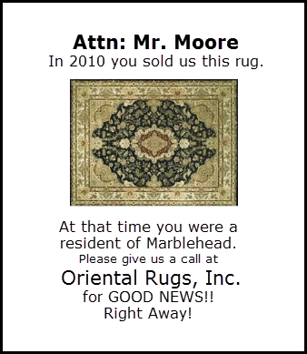 Facsimile of an actual ad. If you are Mr. Moore of Marblehead, read the local paper!