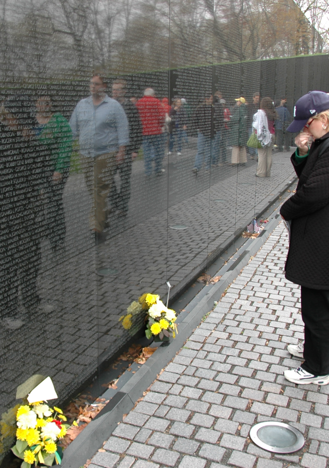 A blur of names on the Vietnam Memorial.